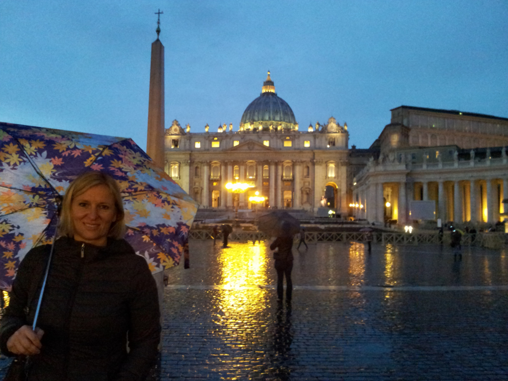 Me in front of St.Peter's Basilica on a rainy day (Not your typical Roman weather)