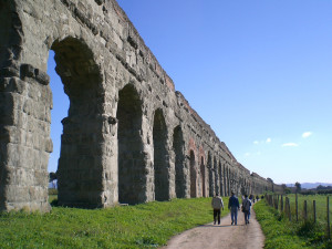 The Roman Acqeduotes run along Appia Antica