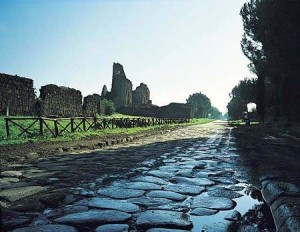 "The road ""Appia Antica"" was paved with large smooth stones"